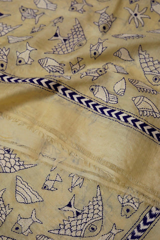 Sea World in Off White Kantha Embroidered Silk Dupatta