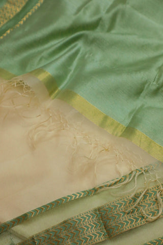 Off White with Light Green Maheshwari Katan Silk Cotton Dupatta
