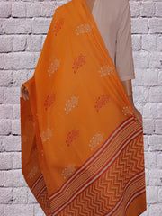 Yellowish Orange Block Printed Chanderi dupatta