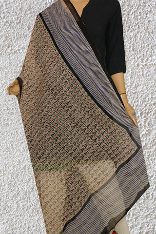Beige with Indigo Block Printed Kota Doria Dupatta with Tassels