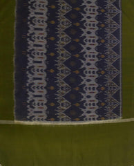 Subdued Green with Blue Handwoven Ikat Cotton Dupatta