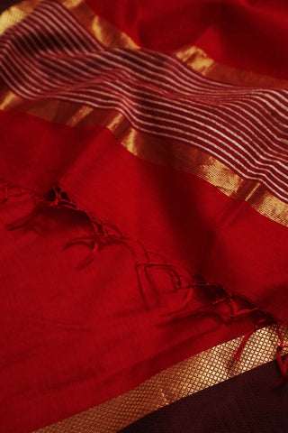 Red with Maroon Border Maheshwari Silk Cotton Dupatta