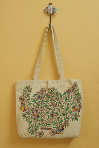 Flower in Tree Hand Madhubani Painted Bag