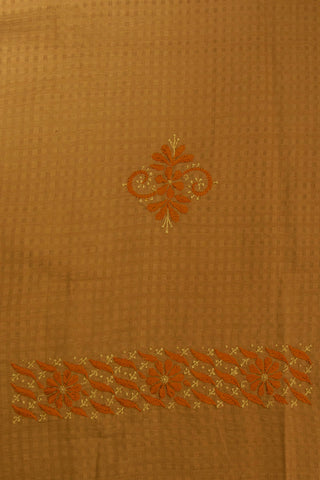 Beige with Fenugreek Yellow Leaf Floral Bodo Checks Kurta Fabric