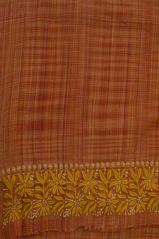 Yellow Flowers on Checkered Handwoven Cotton