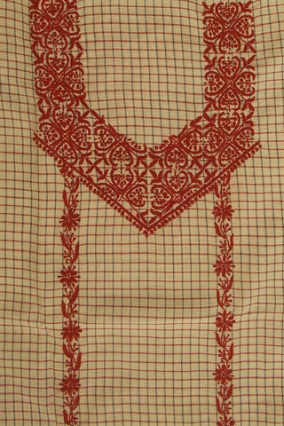 Checkered Handwoven Cotton with Red Chikanwork
