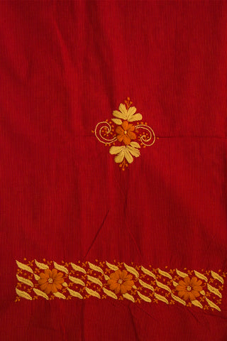 Reddish Maroon with Fenugreek Flowers Chikan Work Kurta Fabric