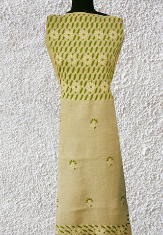Biege with Green Chikan Work Linen Kurta Fabric