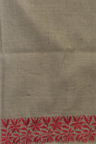 Grey with Pink Floral Chikan Work Linen Fabric