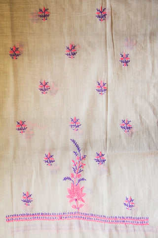 Lavender with Light Pink Chikan Work Kurta Fabric