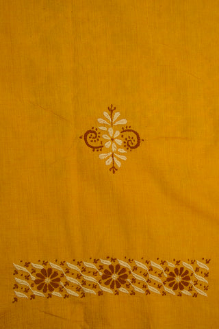 Double shade Yellow with Brown Flowers Chikan Work Fabric Kurta Fabric