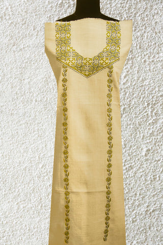 Cream with Green Chikan Work Kurta Fabric