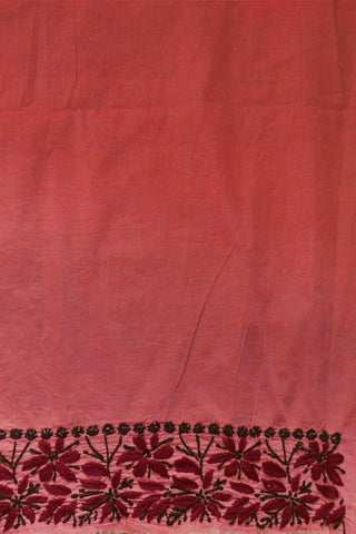 Pink with Maroon Embroidered Chikan Work Kurta Fabric