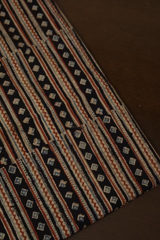 Maroon with Beige Lines in Black Ajrak Cotton Fabric-0.5m