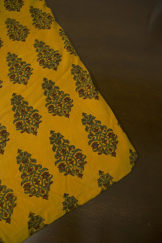 Fenugreek Yellow with Green Floral Block Printed Ajrak fabric