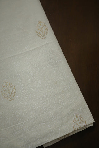 Off White Block Printed Cotton Fabric