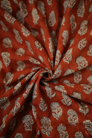 Rust Red Floral Block Printed Cotton Fabric