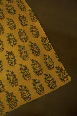 Green with Maroon Leaves Block Printed Ajrak fabric