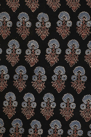 Black with Blue Cotton Ajrak Fabric