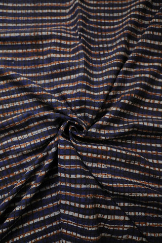 Indigo with Brown Checks Block Printed Cotton Fabric