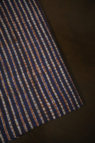 Indigo with Rust Red Small Checks Bagru Block Printed Cotton Fabric-1.5 m