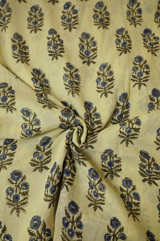 Indigo and Olive Green Floral Ajrak mul Cotton Fabric
