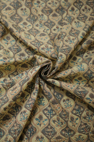 Beige with Grey Block Printed Cotton Fabric