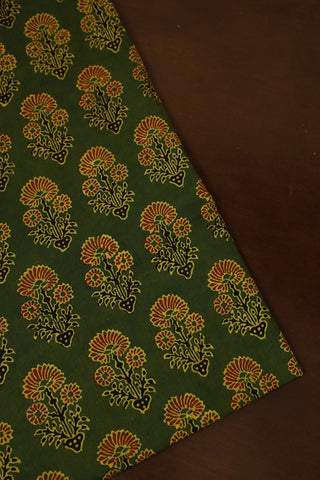 Green with Maroon Ajrak Cotton Fabric