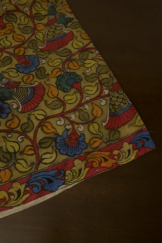 Light Yellow with Pink Border Painted Kalamkari Cotton Fabric