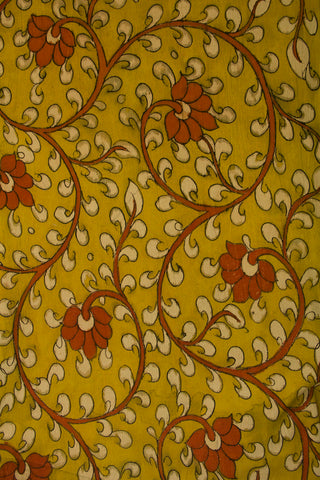 Yellow with Orange Floral Painted Kalamkari Cotton Fabric