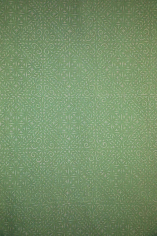 White Block Prints on Light Green Cotton Fabric