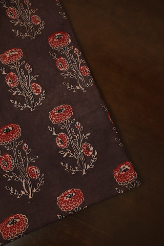 Greyish Brown with Maroon Ajrak Cotton Fabric