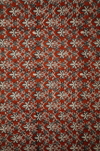 Grey with Rust Red Block Printed Cotton Fabric