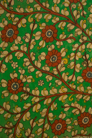 Green with Rust Red Floral Painted Kalamkari Cotton Fabric