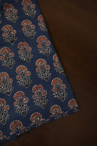 Subdued Indigo with Maroon Floral Ajrak Cotton Fabric