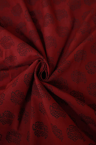 Maroon Floral Bagh Print Cotton Fabric-2 m
