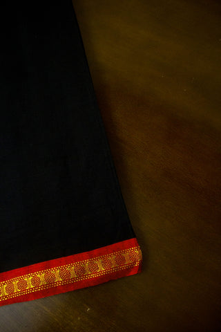 Black with Red  Zari Border Handwoven Cotton Fabric
