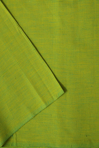 Yellow with Green Pin Stripes Handwoven Cotton Fabric