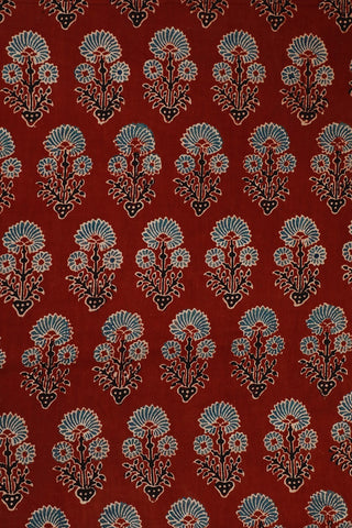 Maroon with Indigo Ajrak Cotton Fabric