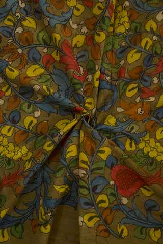 Olive Green Floral Hand Painted Kalamkari Cotton Fabric