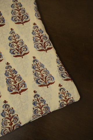 Maroon with Indigo Big Floral Ajrak mul Cotton Fabric