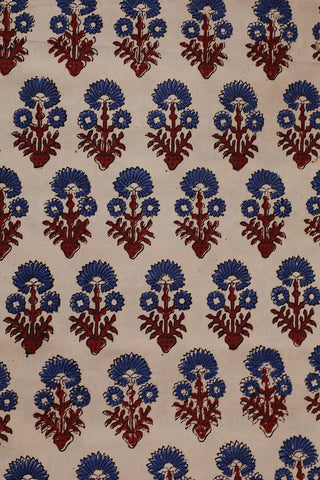 Cream with blue Cambric Cotton Ajrak Fabric