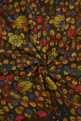 Black with Yellow Floral Design Painted Kalamkari Cotton Fabric