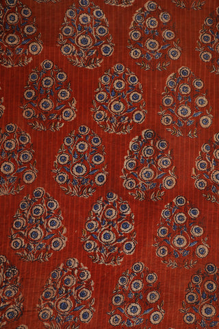 Brick Red with Indigo Floral Block Printed Cotton Fabric