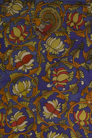 Blue Lotus Design Painted Kalamkari Cotton Fabric