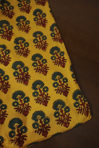 Yellow and Green Floral Ajrak Cambric  Cotton Fabric