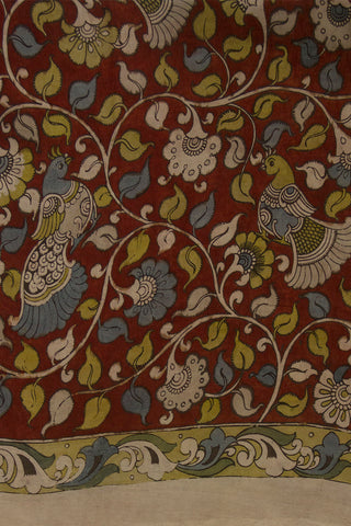 Maroon with Yellow Border Painted Kalamkari Chennuri Silk Fabric