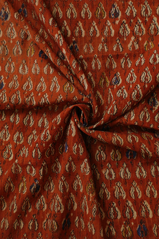 Rust Red with Beige Floral Block Printed Cotton Fabric