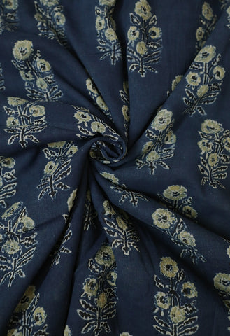 Blue with Yellowish Green Ajrak mul Cotton Fabric