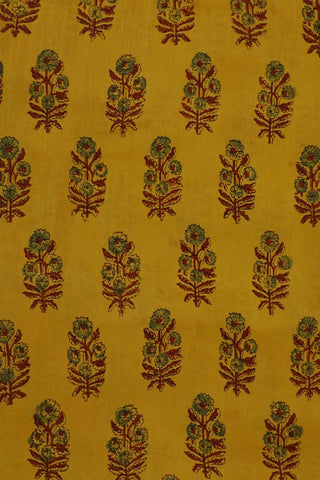 Yellow Ajrak mul Cotton Fabric